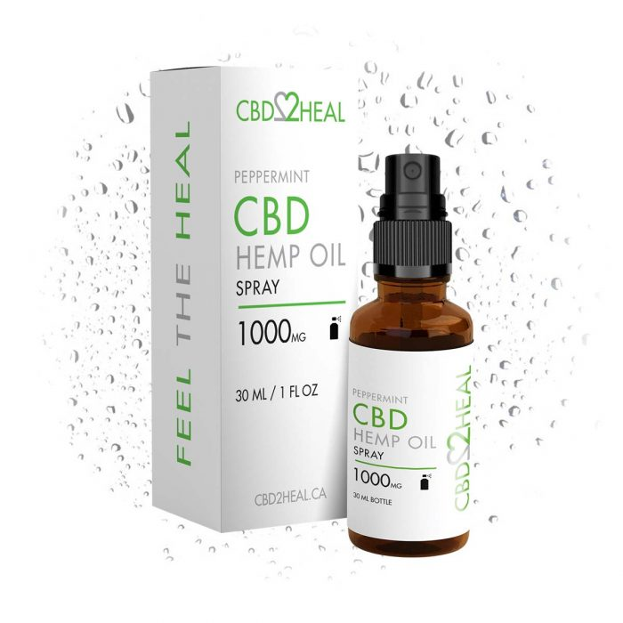 CBD2Heal CBD Hemp Oil Peppermint Spray 1000mg